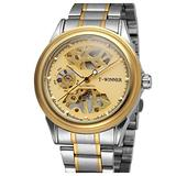 Luxury Skeleton Mechanical Watch Men's Stainless Steel Two Tone Bracelet Watch Waterproof Male Watch (Gold)
