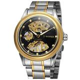 Luxury Skeleton Mechanical Watch Men's Stainless Steel Two Tone Bracelet Watch Waterproof Male Watch (Gold Black)