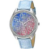 GUESS Women's U0753L1 Iconic Sky Blue Watch with Blue and Pink Glitter Dial