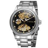 Luxury Skeleton Mechanical Watch Men's Stainless Steel Two Tone Bracelet Watch Waterproof Male Watch (Silver Black)