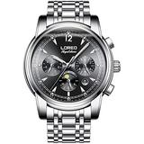 LOREO Mens Automatic Multifunction Sapphire Silver Stainless Steel Date Black Dial Waterproof Men's Watch (Full Stainless Steel with Black dial)