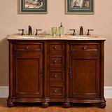 "Silkroad Exclusive Countertop Travertine Double Sink Bathroom Vanity with Cabinet, 52"", English Chestnut"