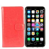 Leather Mobile Phone Wallet Case with Detachable Slim Case Card Slots, Red For iPhone XS