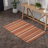 Amazon Brand – Stone & Beam Modern Multi-Colored Stripe Area Rug, 4 x 6 Foot, Sun Multi