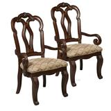 """Delacora HM-3530-155 San Marino Set of (2) 25"""" W Traditional Upholstered Armed Dining Chair Dark oak"""
