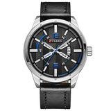 Wristwatches Fashion New Creative Dial Business Men Watches Date Quartz Male Clock Leather Strap (Silver Black)