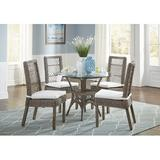 Panama Jack Sunroom Seaside 6 Piece Dining Set Glass/Upholstered Chairs in Brown, Size 30.0 H x 42.0 W x 42.0 D in | Wayfair PJS-1201-KBU-6PD