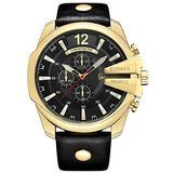 Golden Men Watches Top Luxury Popular Brand Watch Man Quartz Watches Gold Clock Men Wrist Watch (Gold Black)