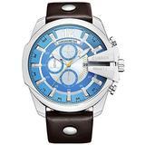 Golden Men Watches Top Luxury Popular Brand Watch Man Quartz Watches Gold Clock Men Wrist Watch (Silver Blue)