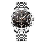 OLMECA Men's Watches Sports Fashion Wristwatches Rhinestone Watches Waterproof Fashion Quartz Watches Women Watch Stainless Steel Watch Silver Black Color 0827-GKHMgd