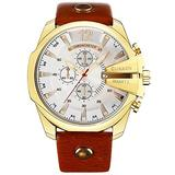 Golden Men Watches Top Luxury Popular Brand Watch Man Quartz Watches Gold Clock Men Wrist Watch (Gold White)