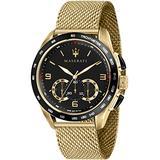 Maserati traguardo Mens Analog Quartz Watch with Stainless Steel Gold Plated Bracelet R8873612010