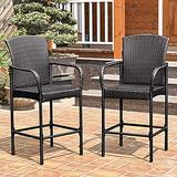 EZ FunShell 2 pcs Rattan Set High Bar Stool Chairs, Brown