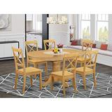 East West Furniture Kitchen dining table set 6 Amazing Wooden dining room chairs - A Stunning round dining table- Oak Color Wooden Seat Oak Butterfly Leaf modern dining table