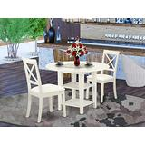 3 Pc Set With 1 Dinette Table And Two Chairs With Faux Leather Seat In linen white Finish.