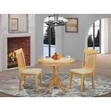 East West Furniture ANPO3-OAK-C 3 Pieces Wood Set – 2 Kitchen Chairs with Linen Fabric Seat and Slatted Back-Round Top and Pedestal Legs Dining Table (Oak Finish)