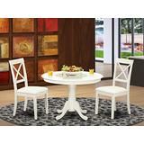 East West Furniture 3-Piece Dinette Set Included a Round Dining Table and 2 Wooden Dining Chairs - Faux Leather Dining Room Chairs Seat & X-back - Linen White Finish