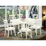 East West Furniture AVBO7-LWH-LC 7-Piece Kitchen Table Set - Faux Leather Dining Room Chairs - Hardwood Butterfly Leaf Pedestal Small Dining Table and Linen White Finish Frame