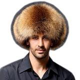 Modelshow Faux Fur Hat Fashion Cossack Russian Style Hat Thick Warm Round Hat with Ear-Protection for Male (Camel)