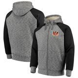 Men's G-III Sports by Carl Banks Heathered Gray/Black Cincinnati Bengals Turning Point Sherpa Lined Full-Zip Jacket