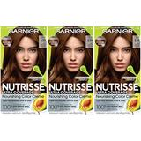 Garnier Hair Color Nutrisse Ultra Coverage Nourishing Hair Color Creme, Deep Medium Golden Brown (Chestnut Praline) 530, Pack of 3