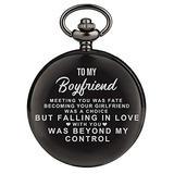 Engraved Pocket Watch for Boyfriend,Customized Pocket Fob Watch Necklace Chain Quartz Watches for Men Birthday Anniversary Personalized Pocket Watch (for Boyfriend)