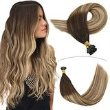 YoungSee Itip Hair Extensions 14inch Fusion I Tip Hair Extensions Human Hair Balayage Darkest Brown to #6 with #24 Blonde Hair Extensions Fusion Human Hair Extensions 100strands 50gram