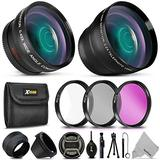 Professional 58MM Lens Accessories Kit includes 58mm Wide Angle (w/MACRO) Lens 58mm Telephoto Lens, 58mm 3 Piece Filter Kit (UV, CPL, FLD), 58mm Lens Hood, 58mm Lens Cap, Lens Cap Keeper + More