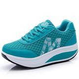 CN-Porter Women's Mesh Lace Up Sneaker Shake Shoes Air Sport Shoes Lake Blue, 7.5