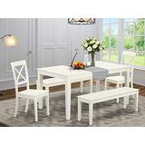 East West Furniture CABO5C-LWH-W Kitchen Dining Table Set 5 Pc - Wooden Dining Chairs Seat - Linen White Finish Small Dining Table and Bench