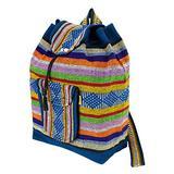 PINZON Large Unisex Hippie Backpack Woven Canvas Rucksack Drawstring Mexican Baja Boho Aztec Girls School Bags Boys Foldable Bag Casual Daypack Beach Unisex Bohemian Duffle bag Mexico (Multicolour)