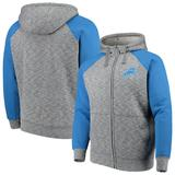 Men's G-III Sports by Carl Banks Heathered Gray/Blue Detroit Lions Turning Point Sherpa Lined Full-Zip Jacket