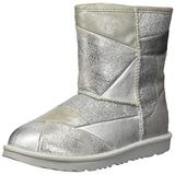 UGG Girls' T CLASSIC SHORT II PATCHWORK Fashion Boot, SILVER, 11 M US Little Kid