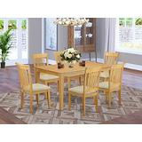 East West Furniture CAPO7-OAK-C Room Set 7 Pc-Linen Fabric Dining Chairs Seat-Oak Finish Kitchen Table and Frame