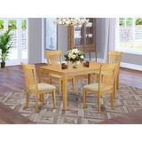 East West Furniture CAPO5-OAK-C Dining Room Table Set 5 Pieces - Linen Fabric Dining Chairs Seat - Oak Finish Small Rectangular Dining Table and Body