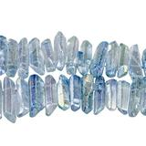 """TUMBEELLUWA Rock Quartz Crystal Points Loose Beads for Jewelry Making, Titanium Coated Polished / Raw Quartz Points Beads 15 Inches Top Drilled,Light Blue Crystal Points(0.5""""-1.6"""")"""