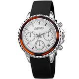 August Steiner Women's Designer Watch – Black Patent Leather Band, Crystal Studded Bezel, Diamond Marker, Multifunction Day, Date, 24 Hour - AS8268BK