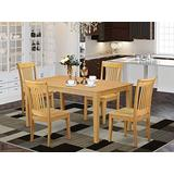 East West Furniture Rectangular Kitchen Table Set 5 Pc - Wooden Kitchen Chairs Seat - Oak Finish Small Rectangular Table and Frame