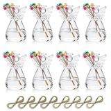 Sziqiqi Glass Guardian Angel Vases Tiny Bud Vases Bulk for Hanging Vases for Buds Cuttings Hydroponic Plant Containers Room Ornaments Bautizo Decorations 3.5inch/8Pcs