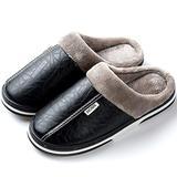 Men's Women's Slippers Foam Memory House Outdoor Indoor Shoes Slip-on Sole Clog Plush Anti-Skid Comfort Fleece Lining Fuzzy Cotton(7 M US Men - 8 M US Women,24.5 cm Heel to Toe Black