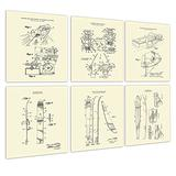 Water Ski Decor Set of 6 Unframed Cream Art Prints of Water Skiing Equipment Invention Diagrams