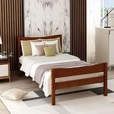 Bed Frame Twin Wood Walnut,JULYFOX Modern Platform Bed with Headboard Footboard Side Rails Wood Slats No Box Spring Needed 300lb Heavy Duty for Small Spaces