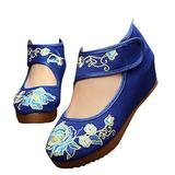 Qianmome Womens Camellia Embroidery Floral Exotic Platform Wedges Mary Jane Shoes Blue