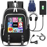 JUSTGOGO KPOP BTS Bangtan Boys Backpack Daypack Laptop Bag College Bag School Bag Bookbag with USB Charging Port