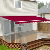 ALEKO 12' W x 10' D Manual Retraction Slope Patio Awning in Burgundy Wood/Brick/Concrete/Fabric in Red, Size 8.0 H x 144.0 W x 120.0 D in | Wayfair
