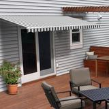 ALEKO 20' W x 10' D Motorized Retraction Slope Patio Awning Wood/Brick/Concrete/Fabric in Gray/White, Size 8.0 H x 240.0 W x 120.0 D in | Wayfair