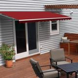 """ALEKO 13' 1"""" W x 10' D Manual Retraction Slope Patio Awning Wood/Brick/Concrete/Fabric in Red, Size 12.0 H x 157.0 W x 120.0 D in 
