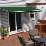 ALEKO 20' W x 10' D Motorized Retraction Slope Patio Awning Wood/Brick/Concrete/Fabric in Green, Size 8.0 H x 240.0 W x 120.0 D in | Wayfair