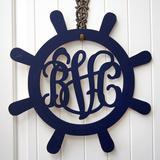 Breakwater Bay Personalized Captain's Wheel 3 Letter Wall Decor Wood in Blue/White, Size 36.0 H x 36.0 W in | Wayfair