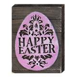 Designocracy Happy Easter Egg Box Sign Wall Decor Wood in Brown/Indigo, Size 12.0 H x 9.0 W x 2.0 D in | Wayfair 98714-12
